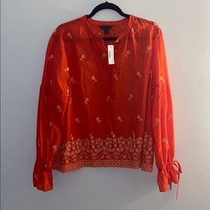 JCrew Orange Floral Long-Sleeve